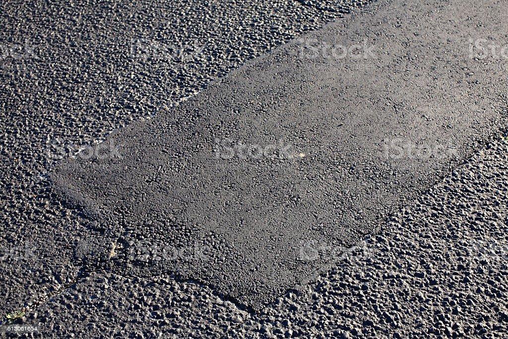 Asphalt Tarmac Patch Concrete Ground Repair Pavement Road Parking Lot stock photo