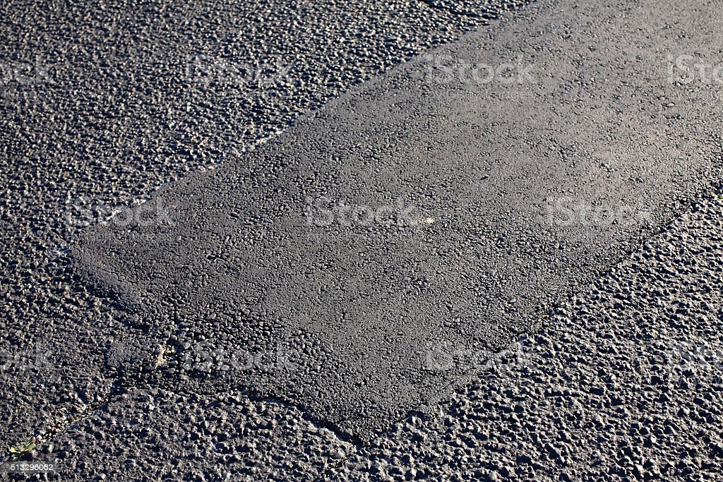 Asphalt Tarmac Patch Concrete Ground Repair Pavement Road Parking Lot stock photo