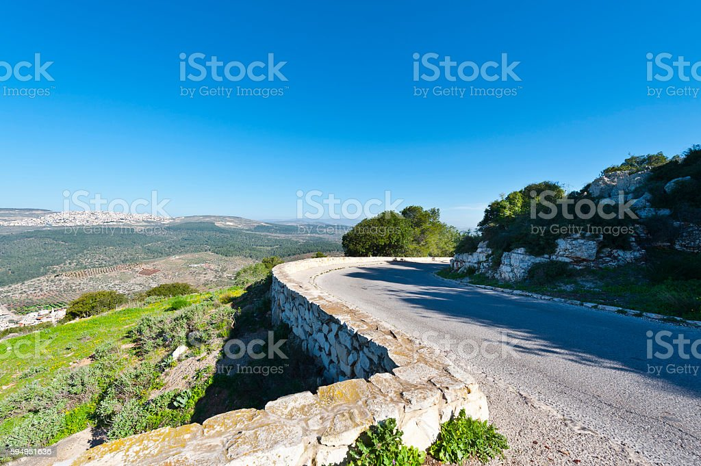 Asphalt to the Mount Tabor stock photo