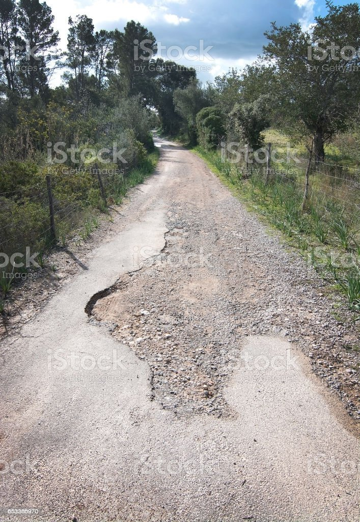 Asphalted road becomes gravel stock photo