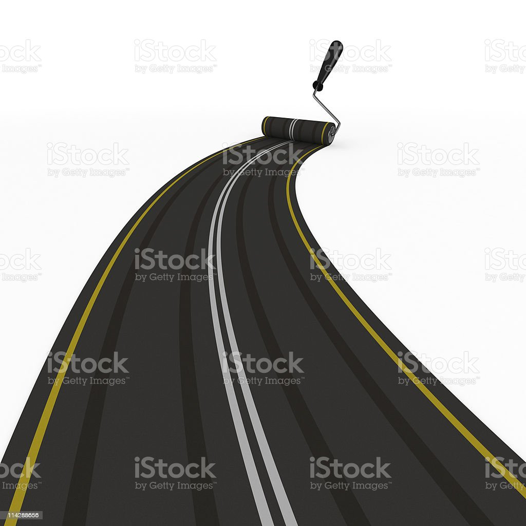 asphalted road on white. Isolated 3D image royalty-free stock photo