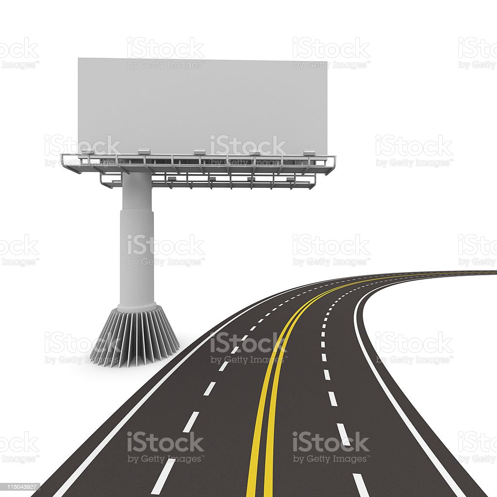 asphalted road with billboard. Isolated 3D image royalty-free stock photo