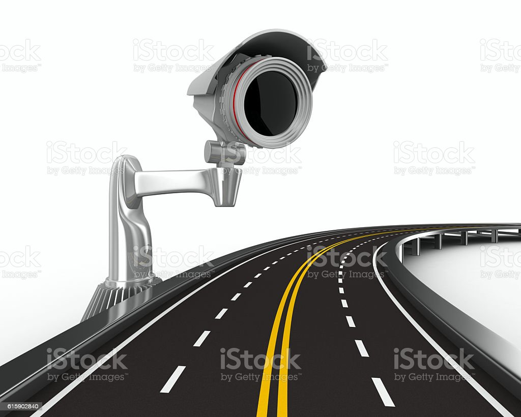 asphalted road with camera on white. Isolated 3D image stock photo