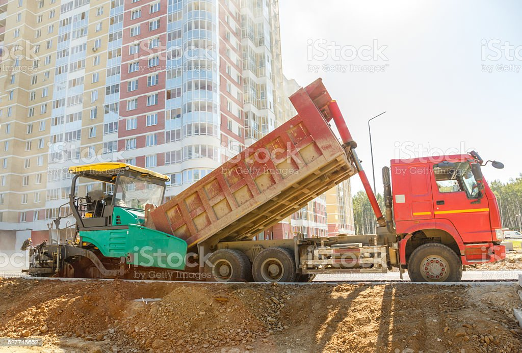 Asphalt-placing machine stock photo