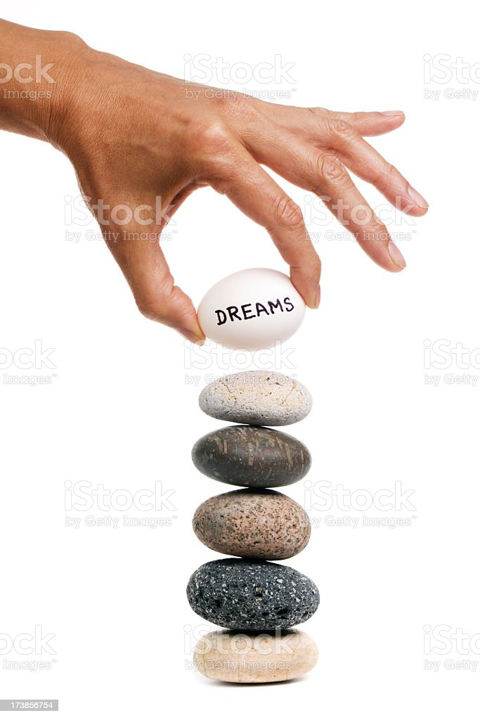 Aspirations, Dreams and Opportunity, Hands Balancing Stacked Pebble Stone royalty-free stock photo