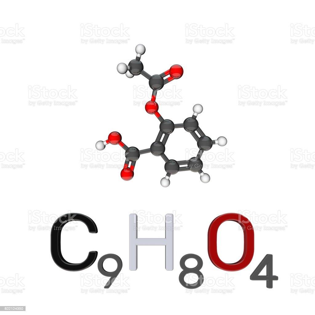 Aspirin model molecule. Isolated on white background. 3D rendering illustration. stock photo