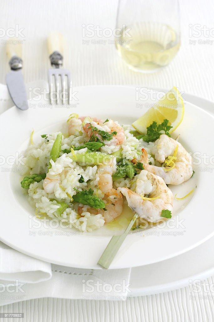 Asprargus shrimp risotto royalty-free stock photo