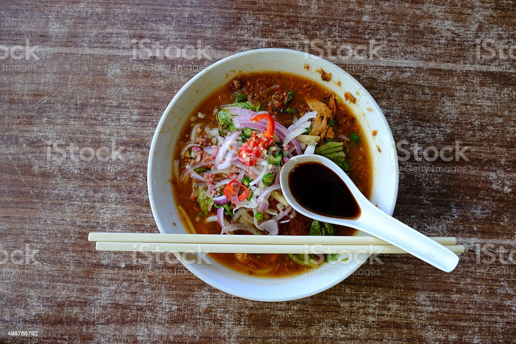 assam laksa stock photo