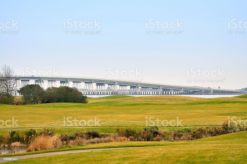 Assateague Island Verranzo Bridge stock photo