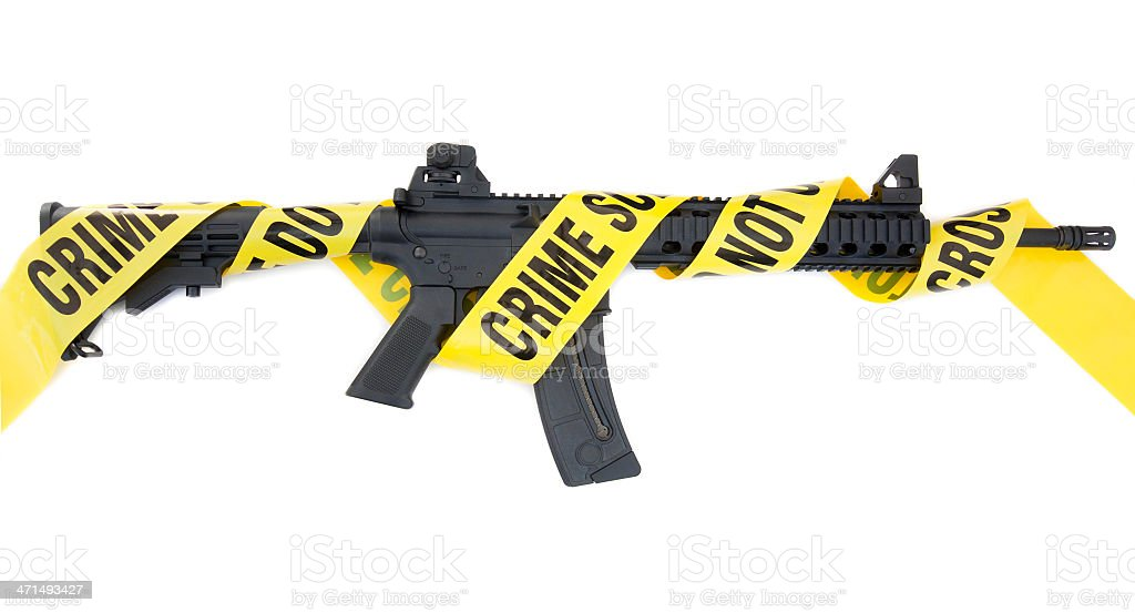 Assault Rifle Crime Scene stock photo