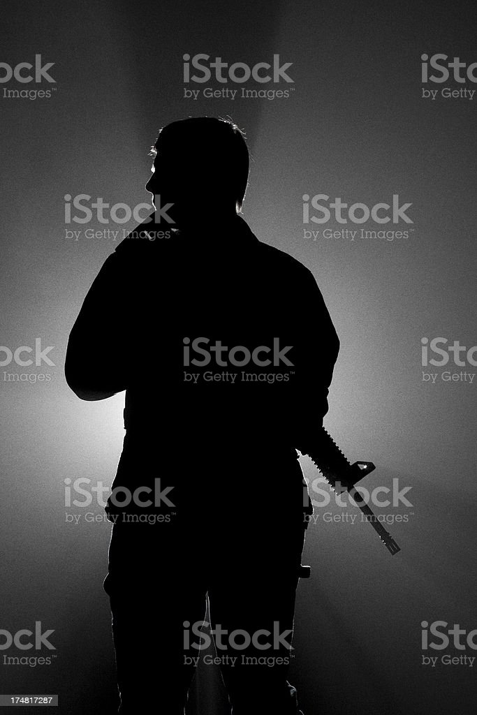Assault Rifle Fog Silhoette royalty-free stock photo