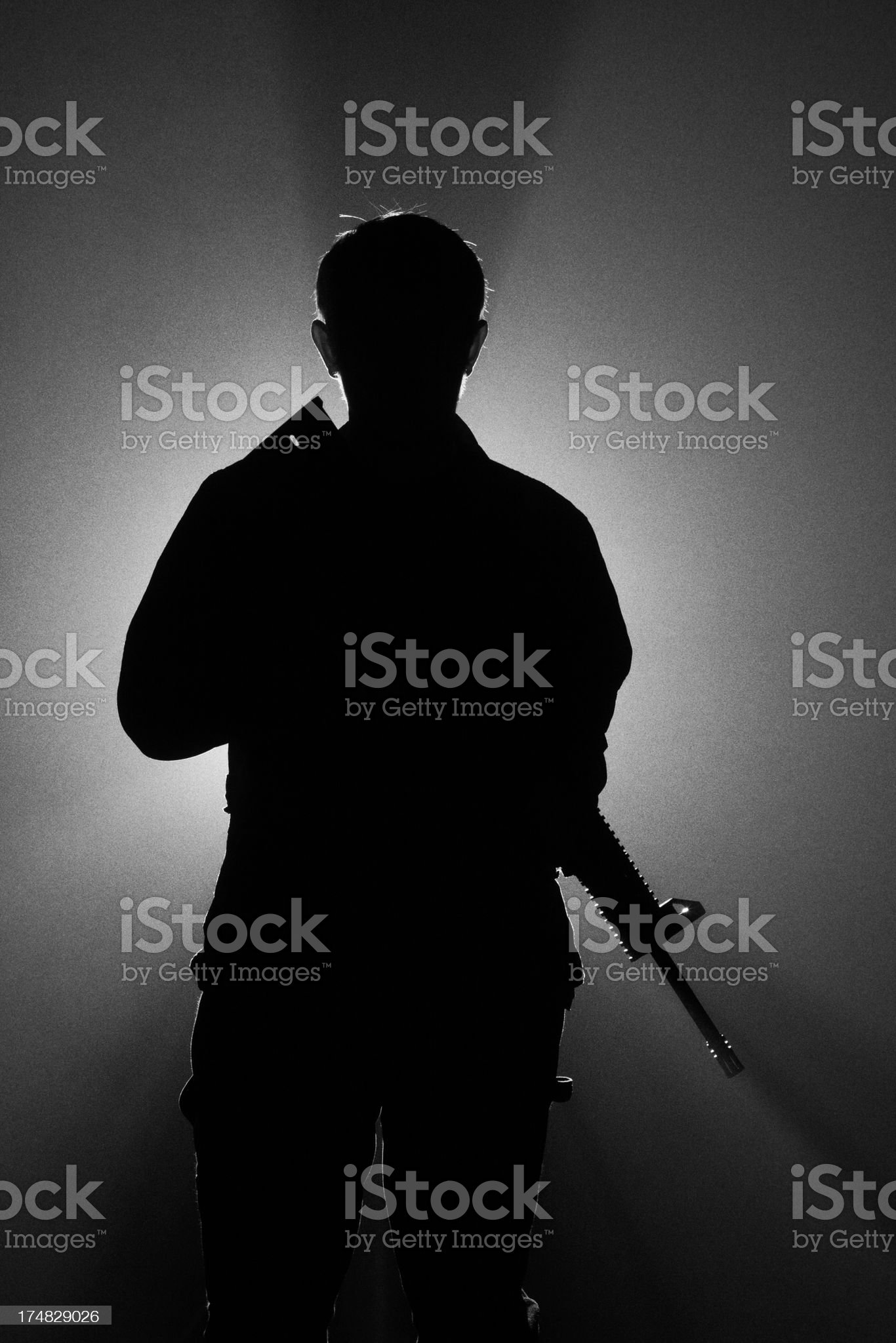 Assault Rifle Fog Silhoette royalty-free stock photo