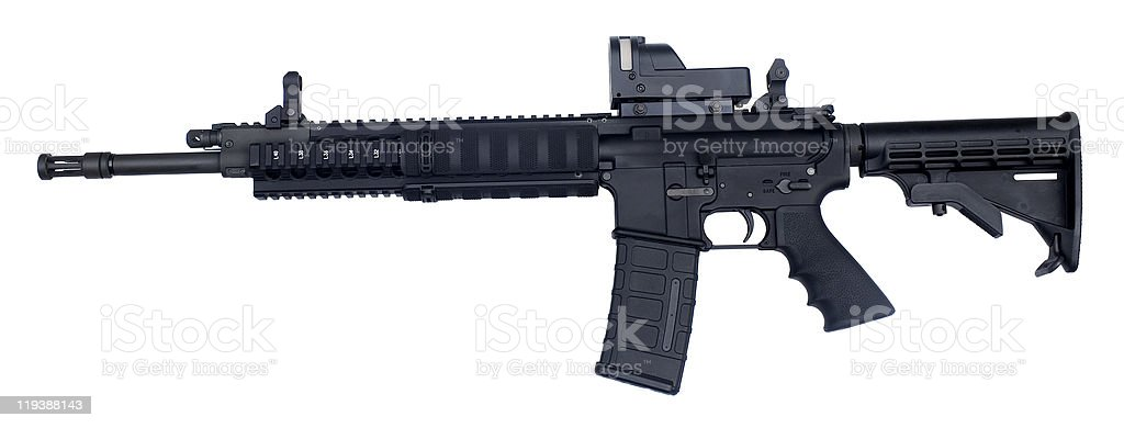 Assault rifle weapon with white background stock photo