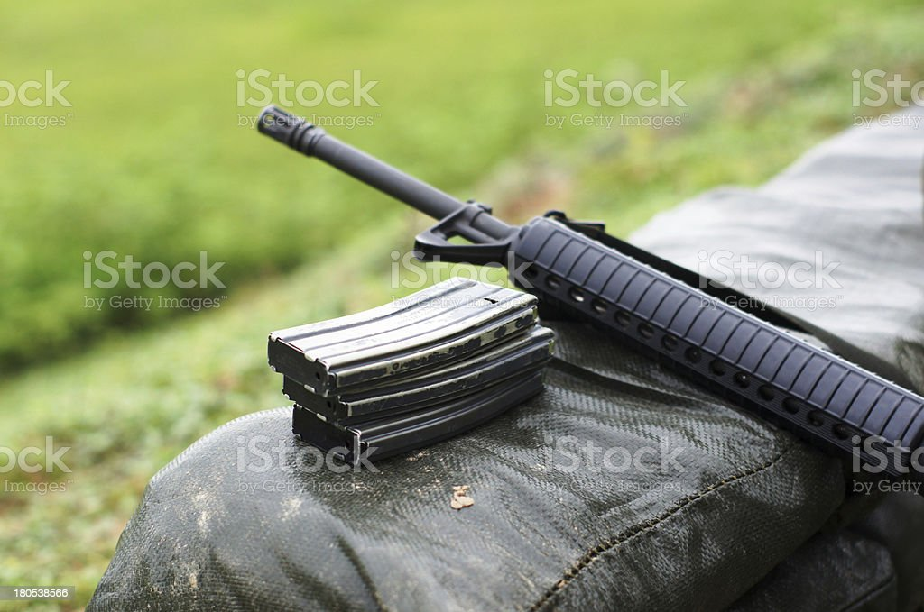 assault rifle with a scope used by the military stock photo