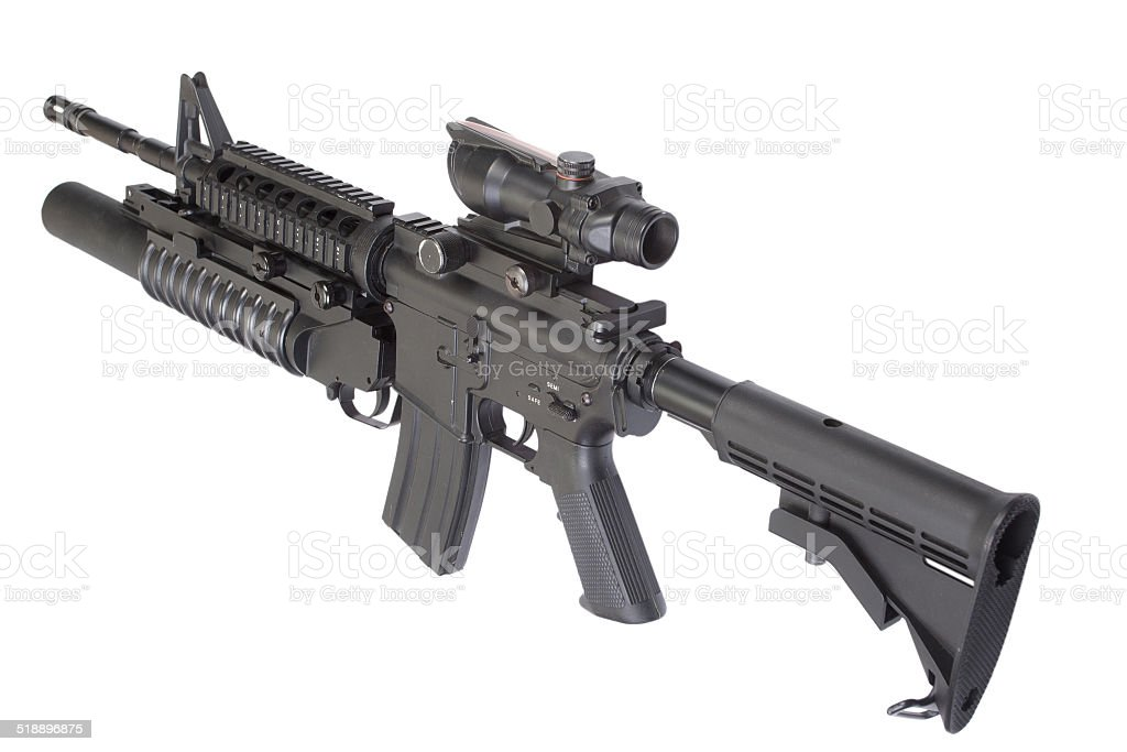 assault rifle with an M203 grenade launcher stock photo