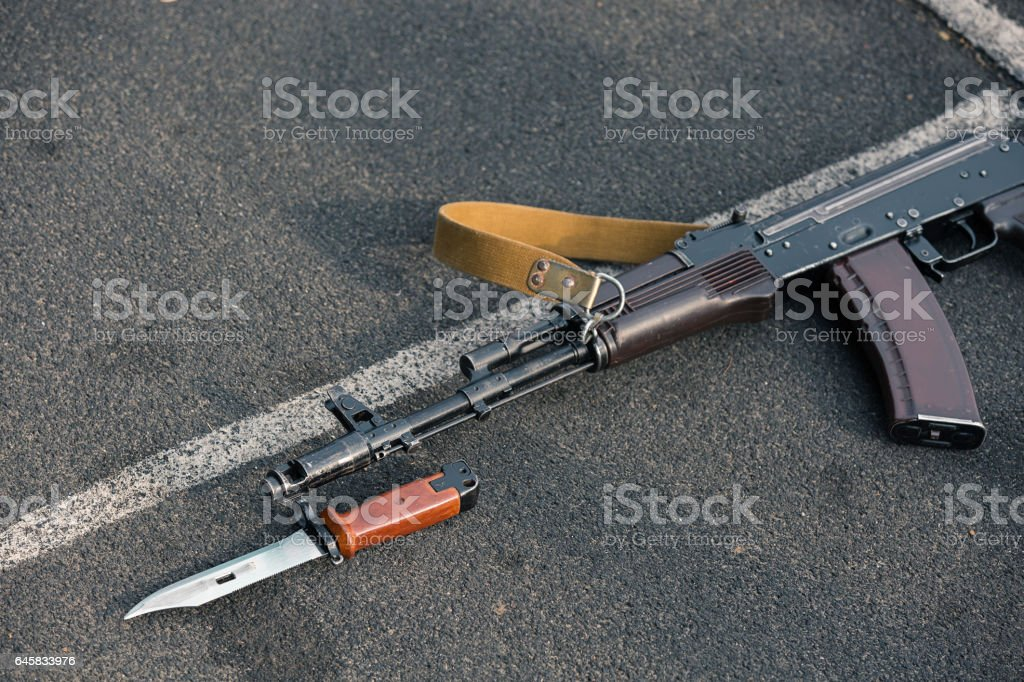 Assault rifle with Bayonet stock photo