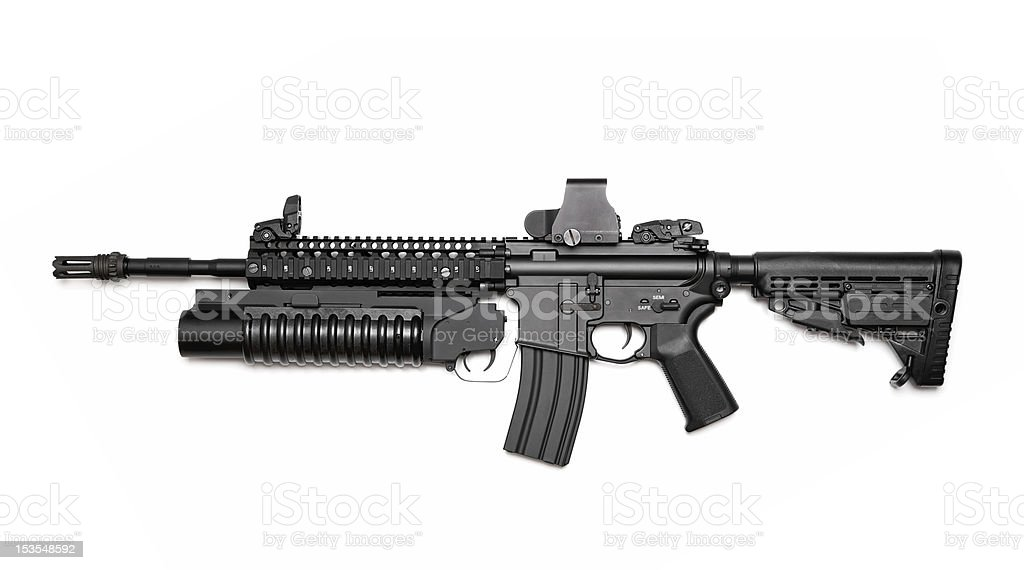 M4A1 assault rifle with grenade launcher royalty-free stock photo