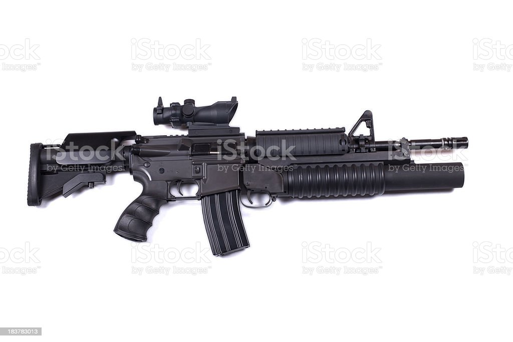 M4 assault rifle with underslung M203 stock photo