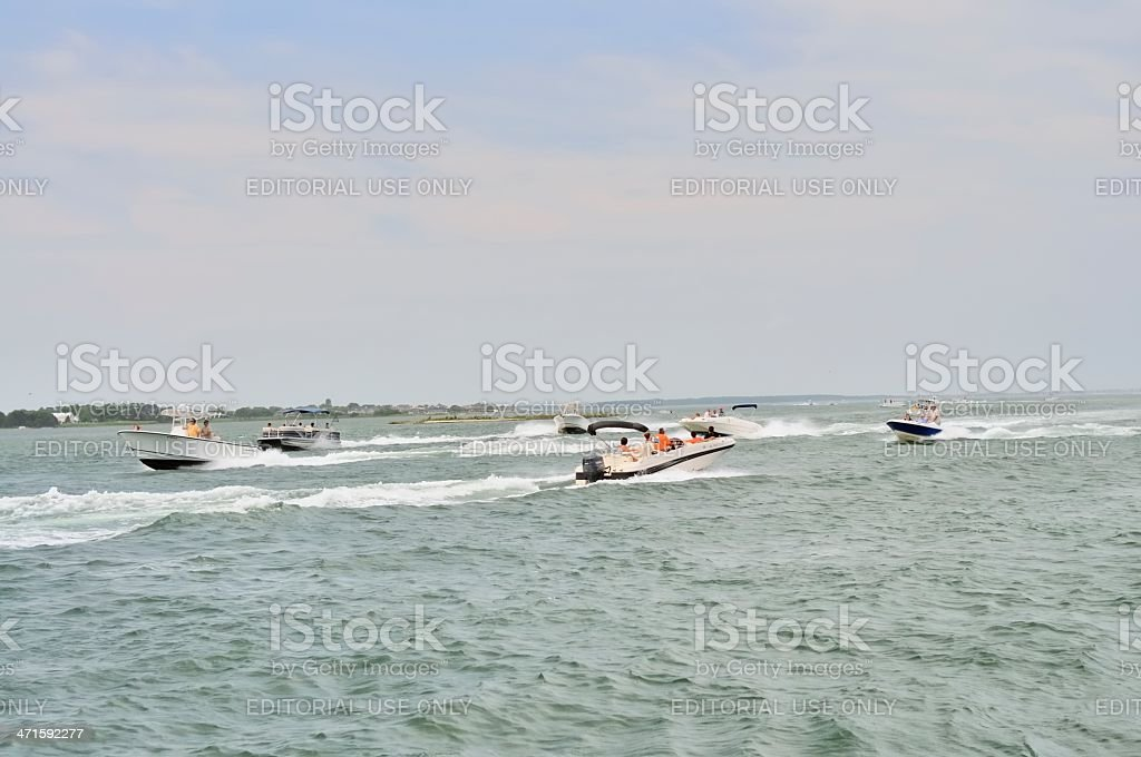 Assawoman Bay Boat Chaos royalty-free stock photo