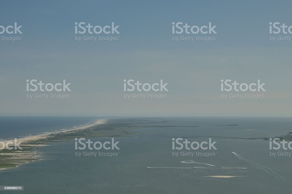 Asseateague Island and Sinepuxent Bay stock photo