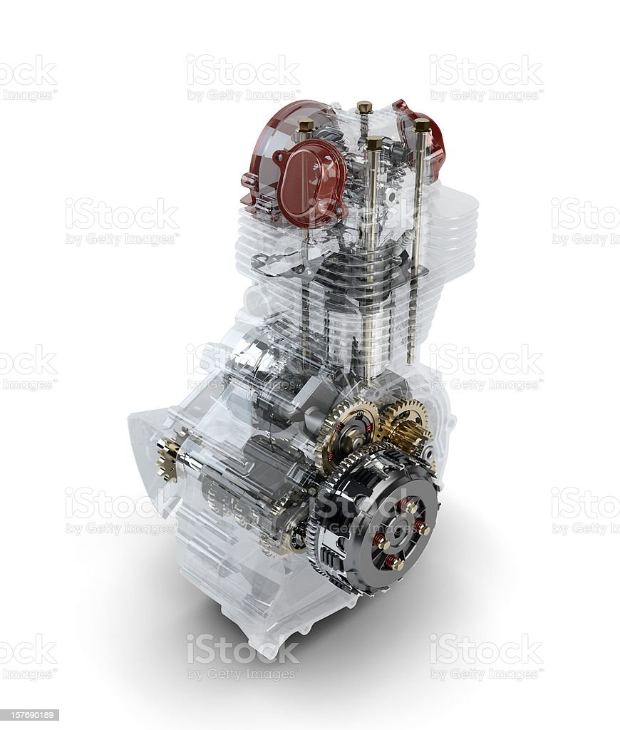 Assembled motorcycle performance engine in transparent case isol royalty-free stock photo