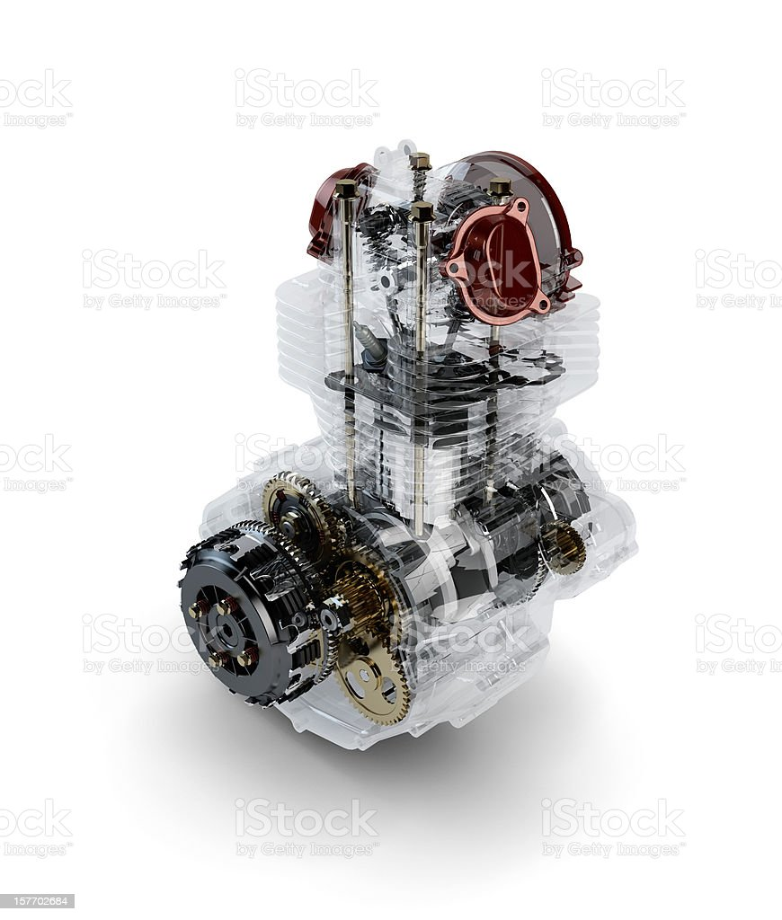 Assembled motorcycle performance engine in transparent case isol stock photo