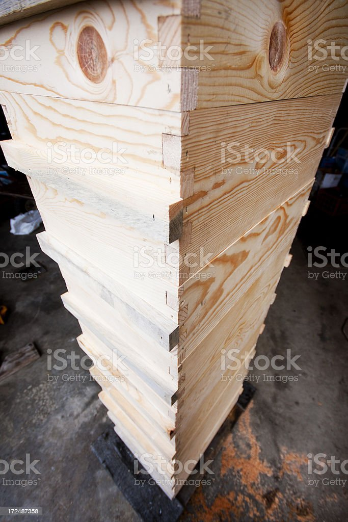 Assembling a Bee Hive - Twelve Completed Langstroth Boxes royalty-free stock photo