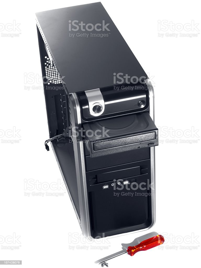 Assembling a new PC- open case isolated on white stock photo