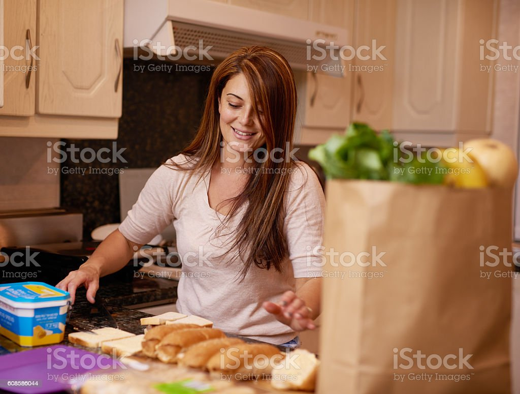 Assembling a nutritious meal stock photo