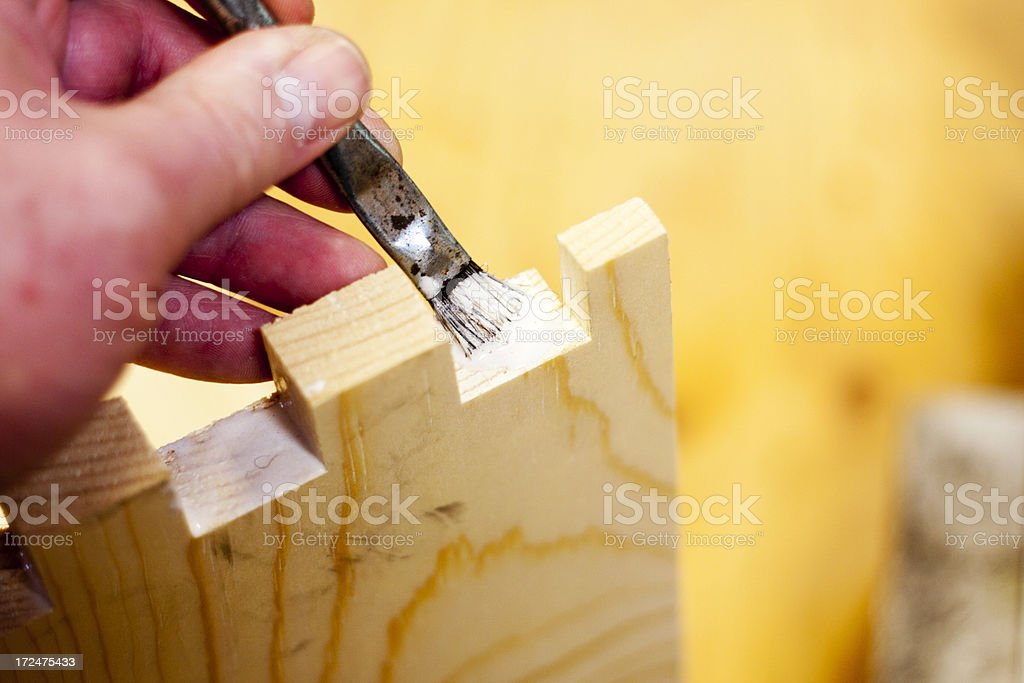 Assembling Bee Hives - Glueing the Box Joints royalty-free stock photo
