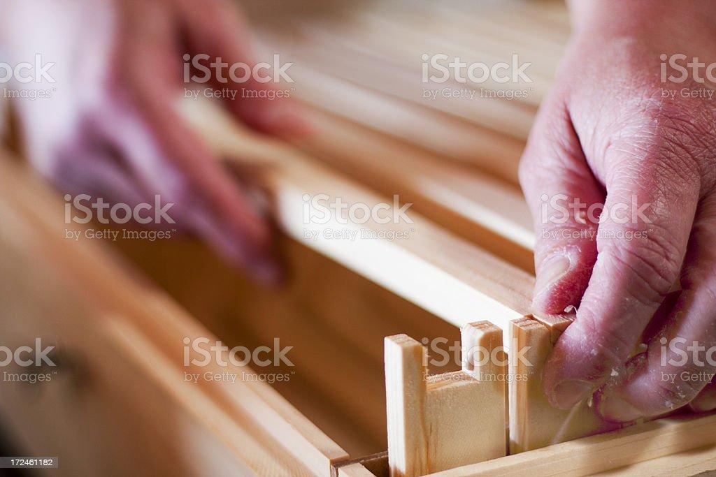 Assembling Hive Frames - Bottom Bars royalty-free stock photo