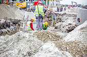 Assembly concrete drainage manhole on building site