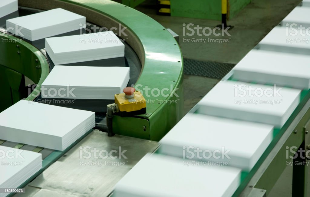 Assembly lines in a paper factory stock photo