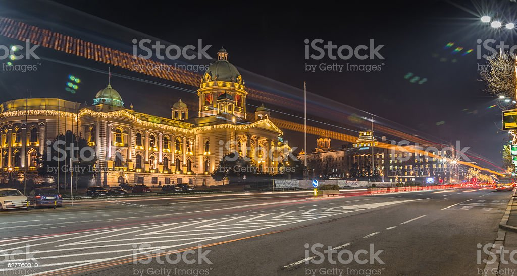 Assembly of the Republic of Serbia city light stock photo