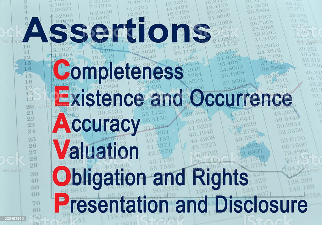 Assertions CEAVOP - Financial auditing acronym stock photo