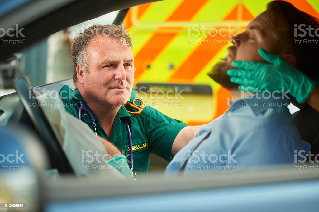assessing the casualty stock photo