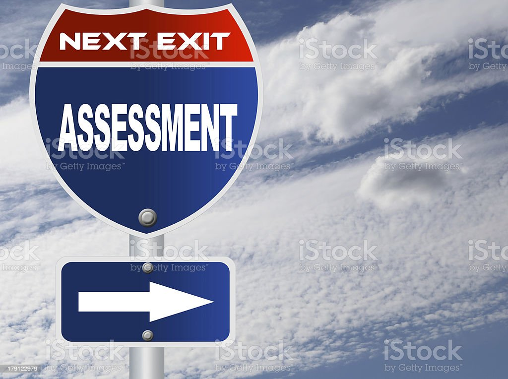 Assessment road sign royalty-free stock photo