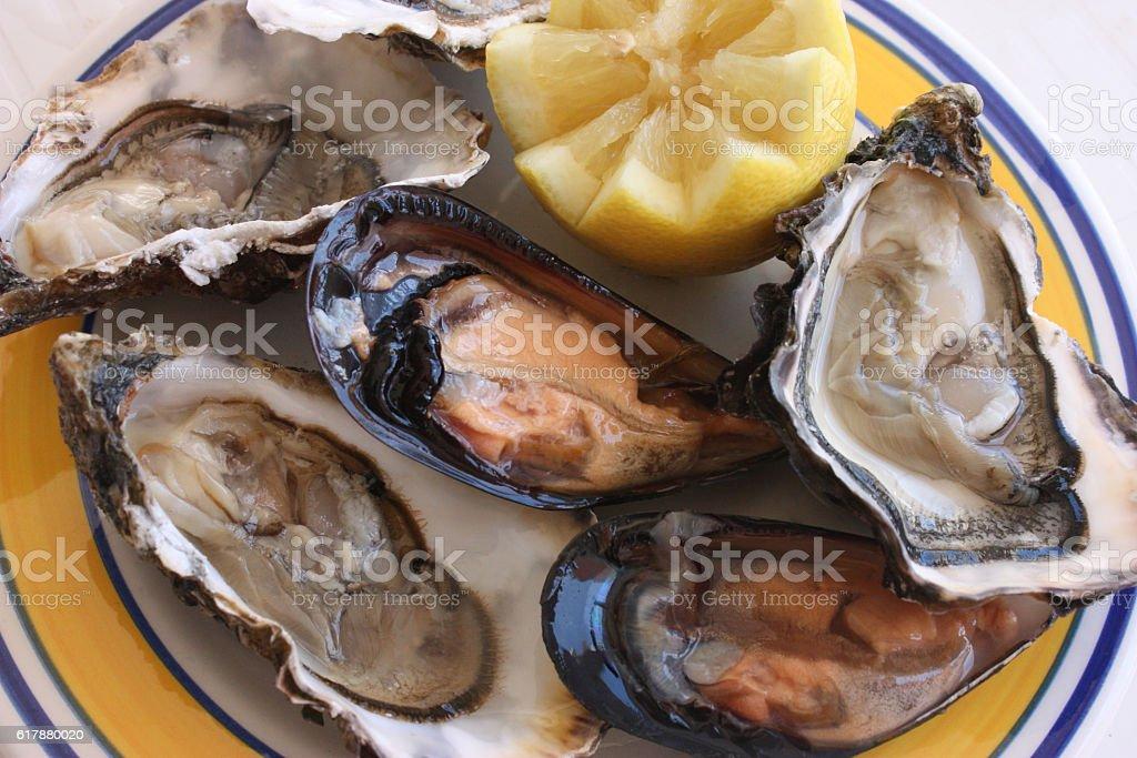 Assiette d'huîtres et moules d'Espagne stock photo