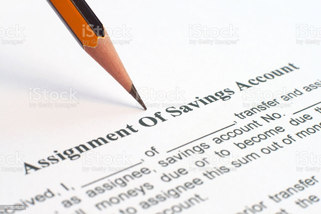 Assignment of savings account royalty-free stock photo