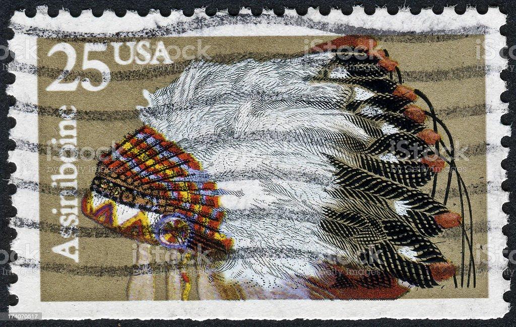 Assiniboine Headdress Stamp stock photo