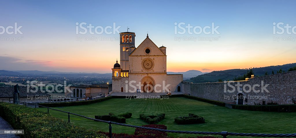 Assisi (Umbria) Basilica di San Francesco at sunset stock photo