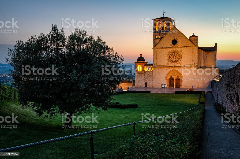Assisi (Umbria) Basilica di San Francesco stock photo