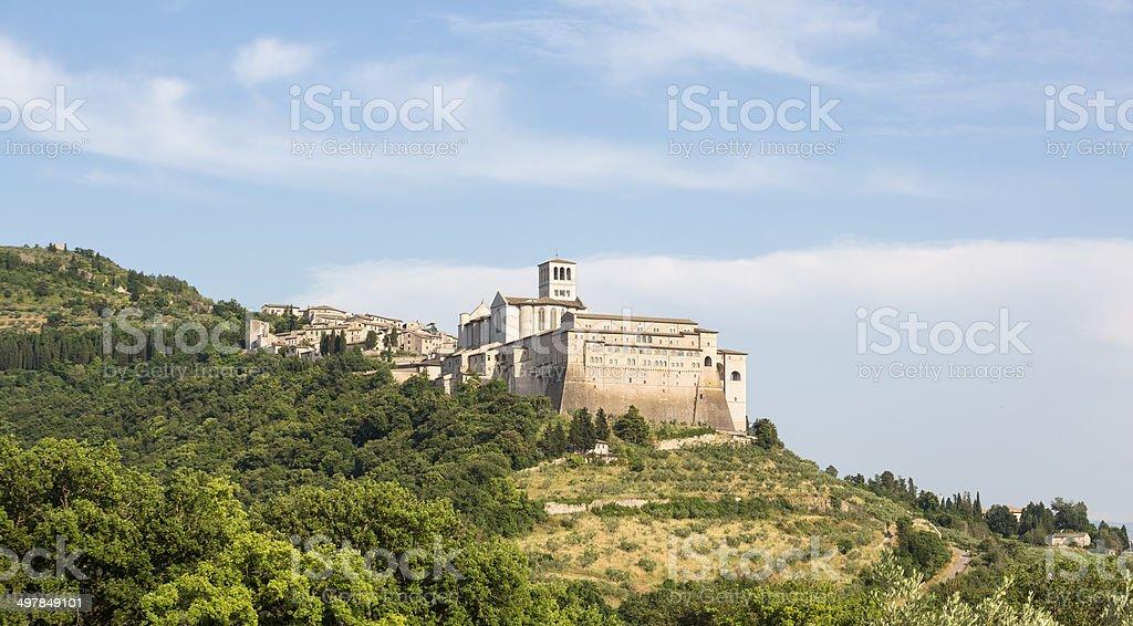 Assisi cityscape with Basilica of San Francisco, Umbria Italy stock photo
