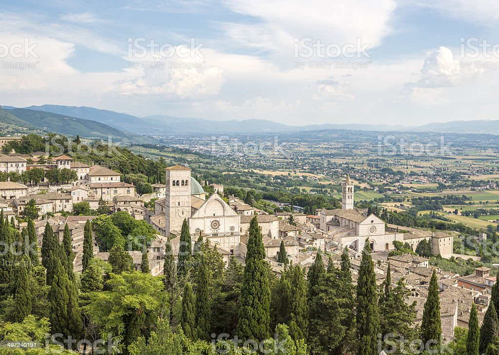 Assisi cityscape with churches, Umbria Italy royalty-free stock photo