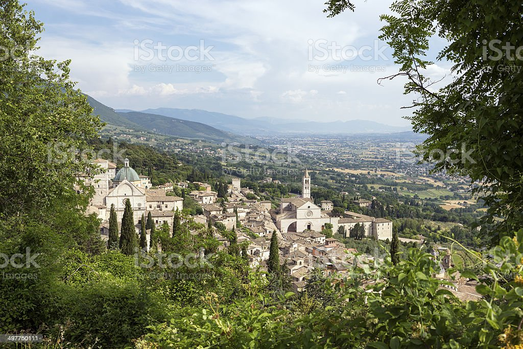 Assisi cityscape with churches, Umbria Italy stock photo