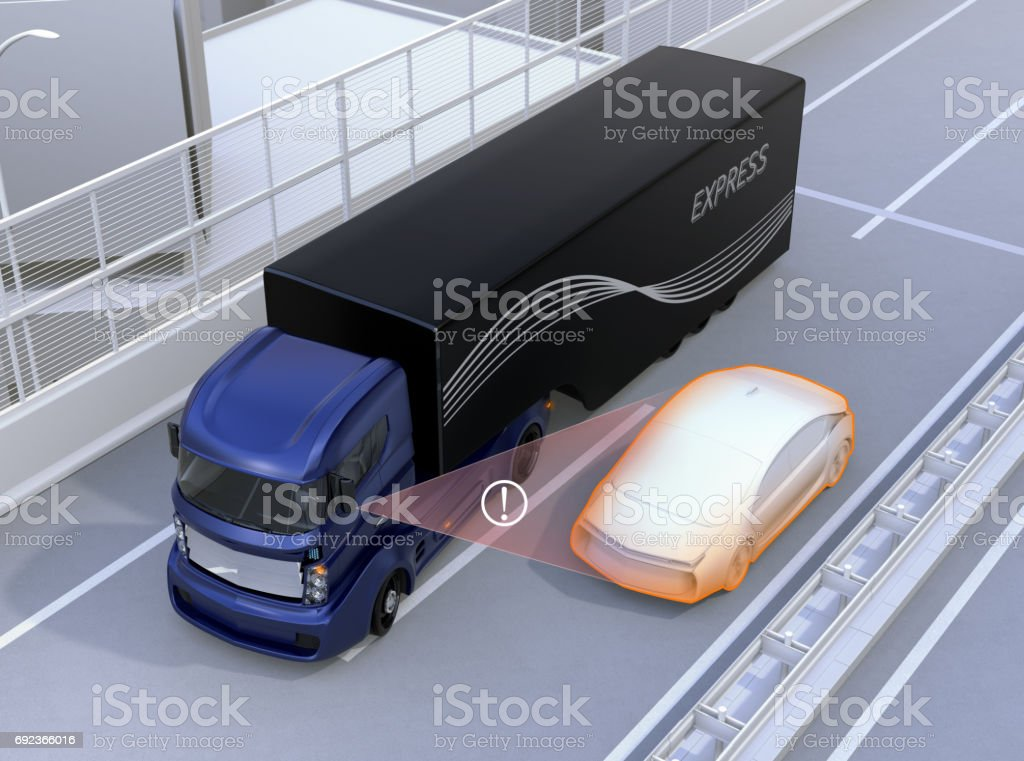 Assist system avoid car accident when changing lane stock photo