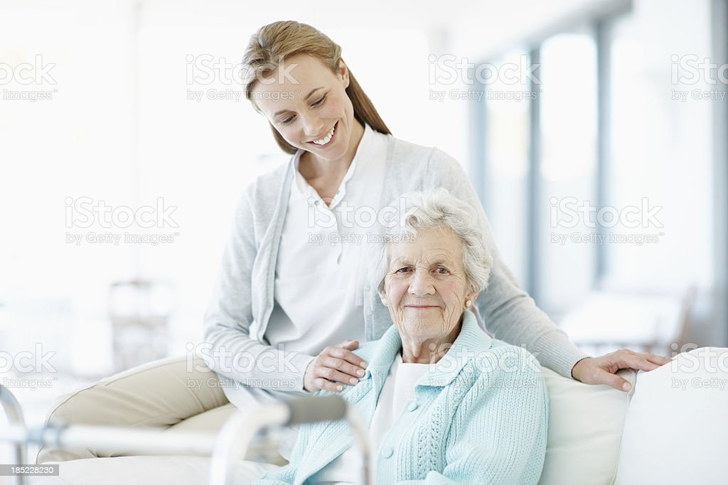 Assistance and care in her golden years royalty-free stock photo