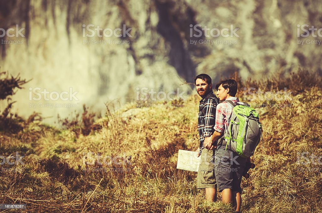 Assistance during the Hiking on mountain royalty-free stock photo