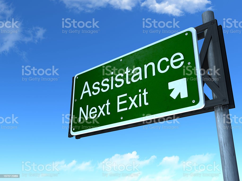 Assistance road sign royalty-free stock photo