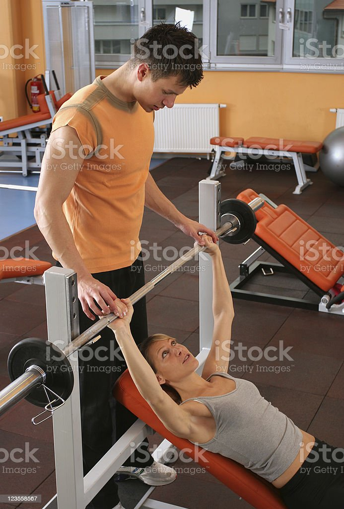 Assistance with weights royalty-free stock photo